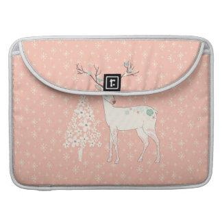 Beautiful Reindeer and Snowflakes Pink Sleeve For MacBooks