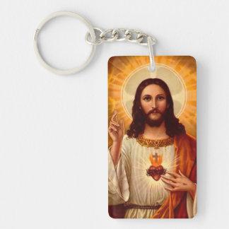 Beautiful religious Sacred Heart of Jesus image Single-Sided Rectangular Acrylic Key Ring