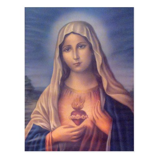 Beautiful Religious Sacred Heart of Virgin Mary Post Card