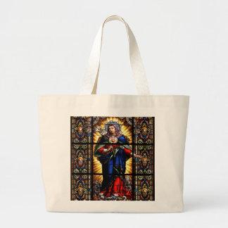 Beautiful Religious Sacred Heart of Virgin Mary Jumbo Tote Bag