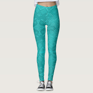 Beautiful Reptile turquoise snake Leggings