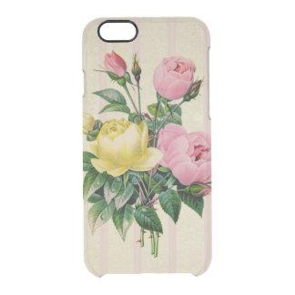Beautiful Retro Floral Pink Antique Flower Bouquet Clear iPhone 6/6S Case