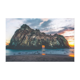 Beautiful Rocky Island Arch at Sunset Canvas Print