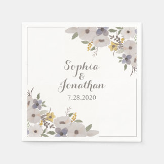 Beautiful Romantic Anemone Floral Wedding Paper Napkins