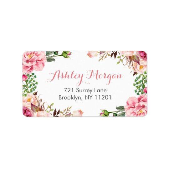 Beautiful Romantic Chic Floral Flowers Label