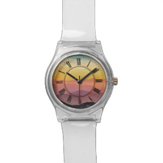 Beautiful romantic pink mountains view top watch