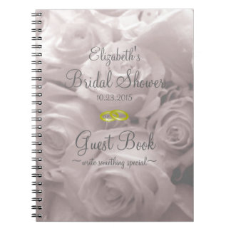 Beautiful Romantic Roses Bridal Shower Guest Book Spiral Notebooks