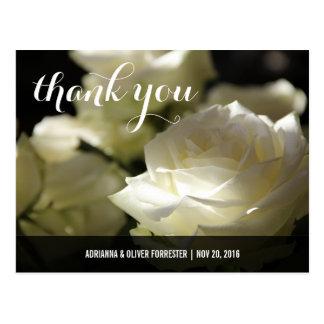 Beautiful Romantic White Rose Wedding Thank You Postcard