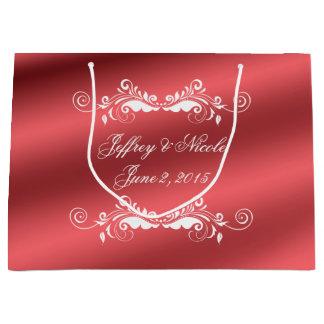 Beautiful Rose Elegant Satin Wedding Large Gift Bag