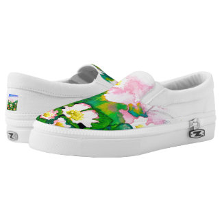 Beautiful Rose Garden Watercolour Slip On Shoes Printed Shoes