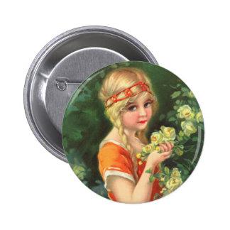 Beautiful Rose Girl Button