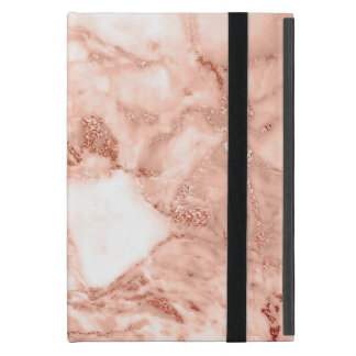 Beautiful Rose Gold Sparkle Faux Marble Pattern iPad Mini Covers