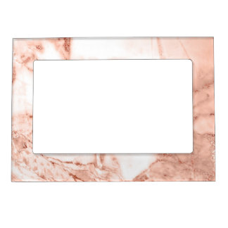Beautiful Rose Gold Sparkle Faux Marble Pattern Magnetic Picture Frame