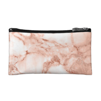 Beautiful Rose Gold Sparkle Marble Pattern Cosmetic Bag