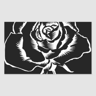 beautiful rose in black white rectangular sticker