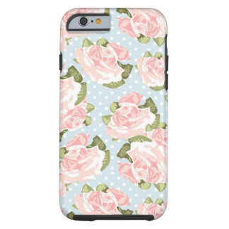 Beautiful rose pattern with blue polka dots tough iPhone 6 case