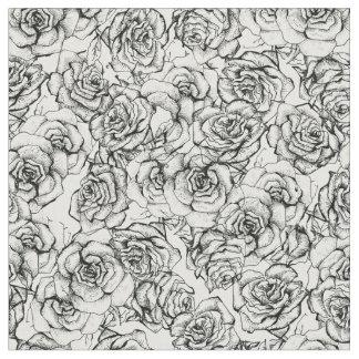 Beautiful roses on white background pattern DIY Fabric