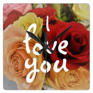 Beautiful Roses Photo Print Romantic Square Wall Clock