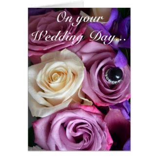 Beautiful roses print wedding card