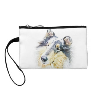 Beautiful Rough Collie dog art Coin Wallets