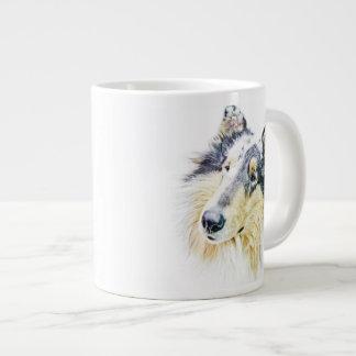 Beautiful Rough Collie dog art Jumbo Mug