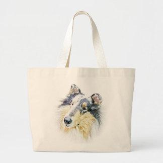 Beautiful Rough Collie dog art Jumbo Tote Bag