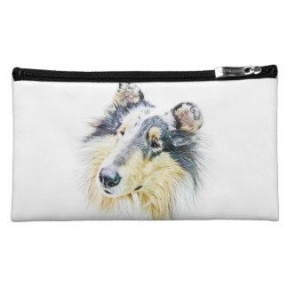 Beautiful Rough Collie dog art Makeup Bags