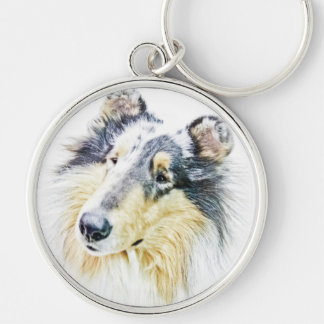 Beautiful Rough Collie dog art Silver-Colored Round Key Ring