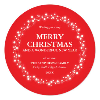 Beautiful Round Red Sparkling Lights Holiday Card 13 Cm X 13 Cm Square Invitation Card