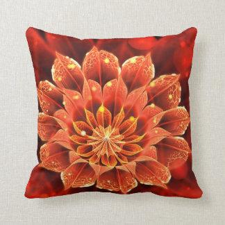 Beautiful Ruby Red Dahlia Fractal Lotus Flower Cushion