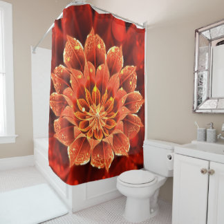 Beautiful Ruby Red Dahlia Fractal Lotus Flower Shower Curtain