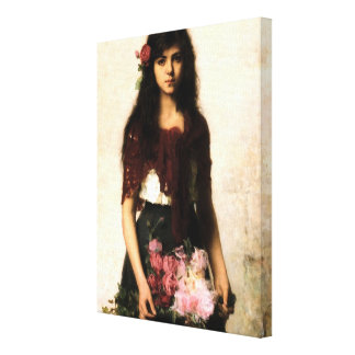Beautiful Russian Flower Seller Girl Canvas Prints
