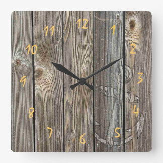 Beautiful rustic anchor on authentic looking wood square wall clock