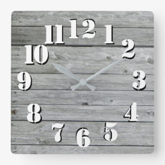 Beautiful Rustic authentic looking wood Square Wall Clock