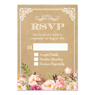 Beautiful Rustic Floral Kraft Elegant Wedding RSVP 9 Cm X 13 Cm Invitation Card