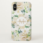 Beautiful Rustic Gold White Floral Monogram iPhone X Case