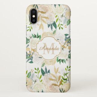 Beautiful Rustic Gold White Floral Monogram iPhone X Case