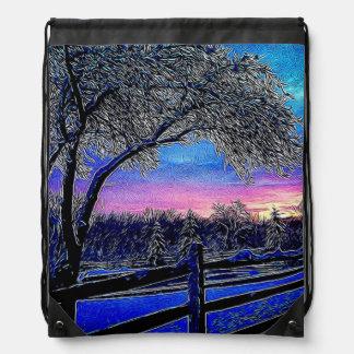 Beautiful rustic winter scene drawstring bags
