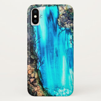 Beautiful Sacred Waterfall Watercolor Landscape iPhone X Case