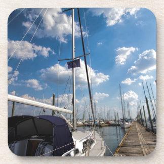Beautiful Sailboat at Pier Coaster
