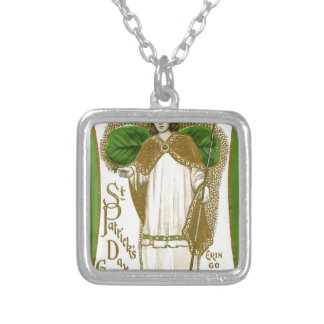 Beautiful saint patrick old poster silver plated necklace