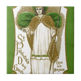 Beautiful saint patrick old poster small square tile
