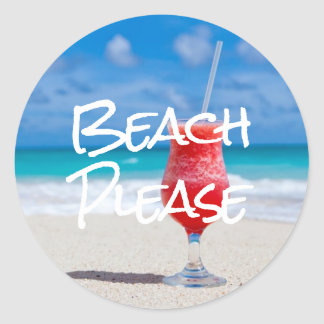 Beautiful Sandy Beach Please Red Daiquiri Sticker