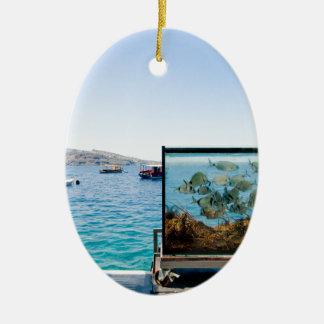 Beautiful Santorini sea view Ceramic Ornament