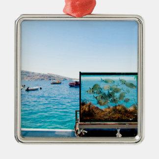 Beautiful Santorini sea view Metal Ornament