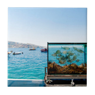 Beautiful Santorini sea view Small Square Tile