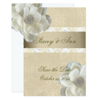 Beautiful, Save the Date White Roses & Bling. Card