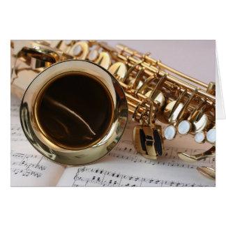 Beautiful saxophone musical instrument card