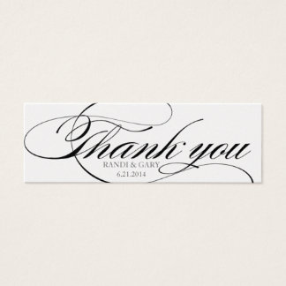 Beautiful script font Thank you favor tag Mini Business Card