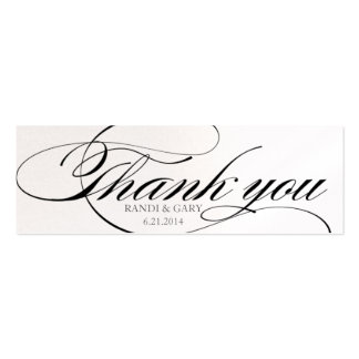 Beautiful script font Thank you favor tag Pack Of Skinny Business Cards